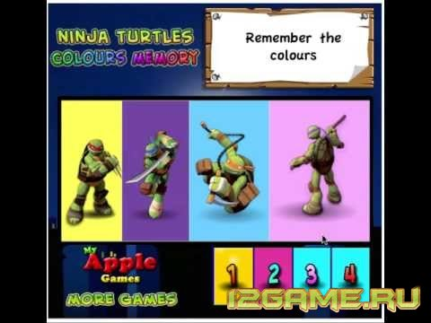 Игра Черепашки Ниндзя цветная память